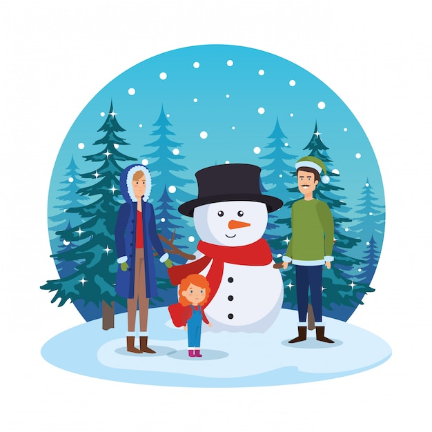 Couple with daughter and snowman in snowscape Premium Vector