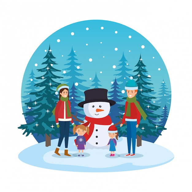 Couple with daughters and snowman in snowscape Premium Vector