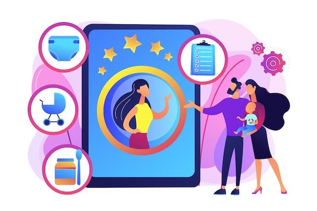 Пара с младенцем, родители выбирают профессиональную няню. услуги няни, персональные услуги по уходу за детьми, концепция найма надежной няни. яркие яркие фиолетовые изолированные иллюстрации Бесплатные векторы