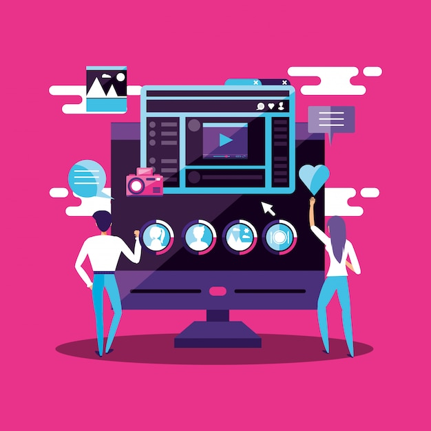 Couple with monitor and social media icons Premium Vector