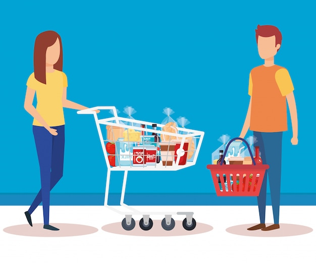 Couple with shopping cart and basket Free Vector