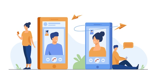 Couple with smartphones talking through video call Free Vector