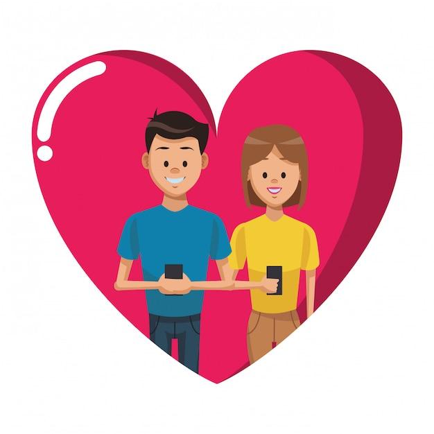 Couple with smartphones Premium Vector