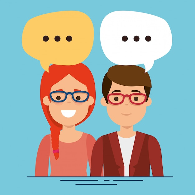 Couple with speech bubbles characters Free Vector