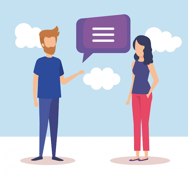 Couple with speech bubbles Free Vector