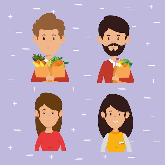 Couple with supermarket groceries Free Vector