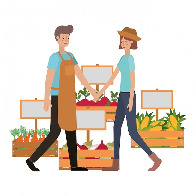 Couple with wooden basket avatar character Premium Vector