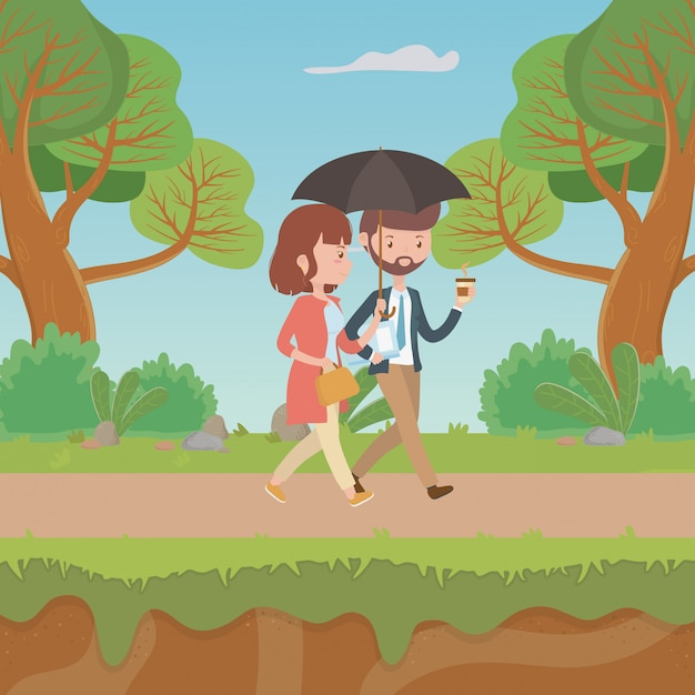 Couple of woman and man cartoon Free Vector