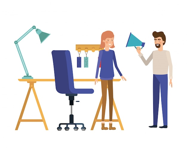 Couple in the work office on white Premium Vector