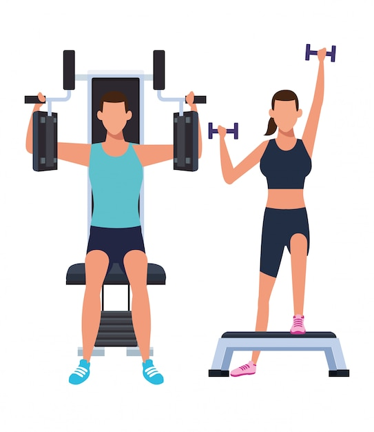 Couple working out in the gym Premium Vector