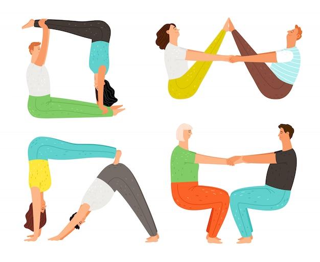 Пара позы йоги Premium векторы