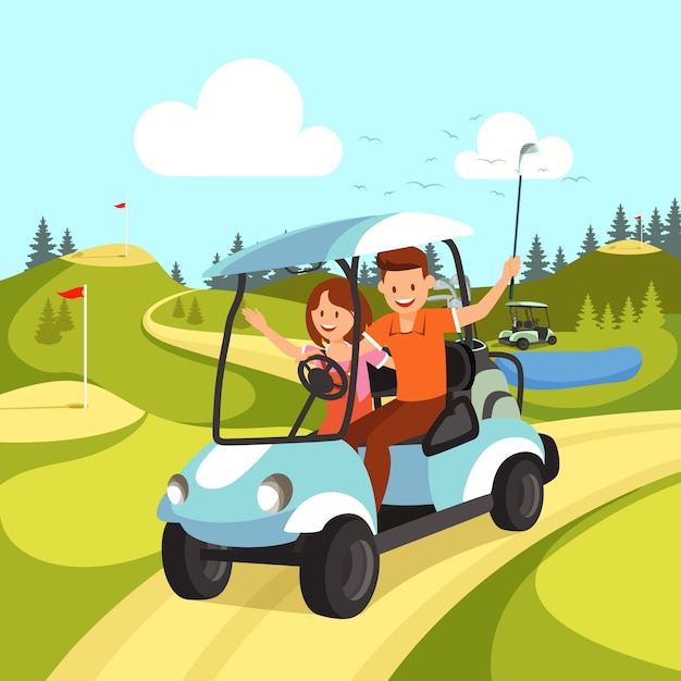 Couple of young man and woman driving golf cart. Premium Vector