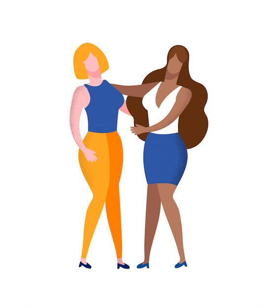 Couple of young multiracial women holding hands Premium Vector