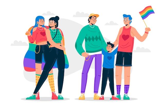 Пары и семьи празднуют день гордости Бесплатные векторы