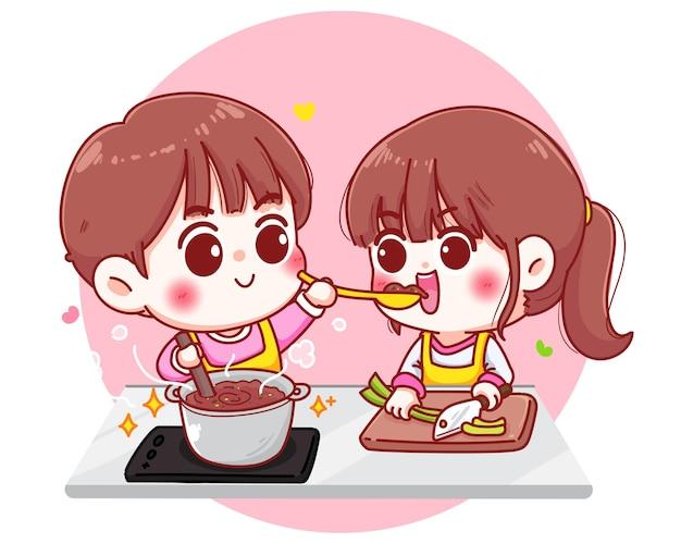 Le coppie cucinano nell'illustrazione di tiraggio della mano del fumetto della cucina Vettore gratuito