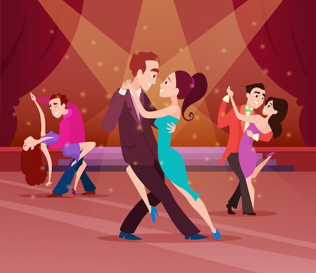 Couples on dance floor Premium Vector