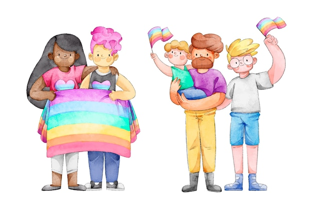 Couples and families celebrating pride day Free Vector