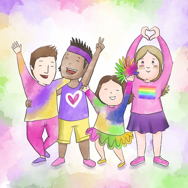 Couples and families pride day celebration Free Vector