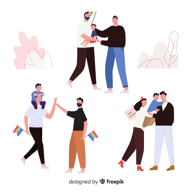 Couples and families of the pride day Free Vector
