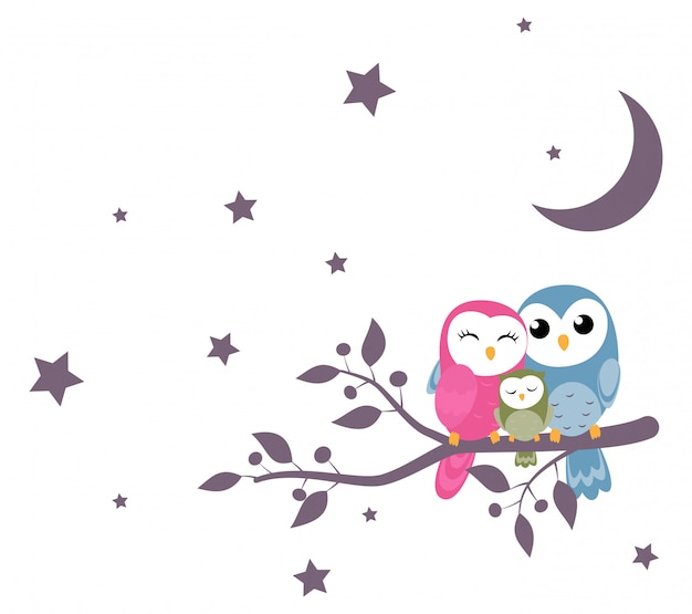 Couples of owls sitting on branches Premium Vector