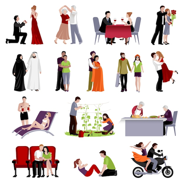 Couples people of different age and nationalities spending time together in various places flat set Free Vector