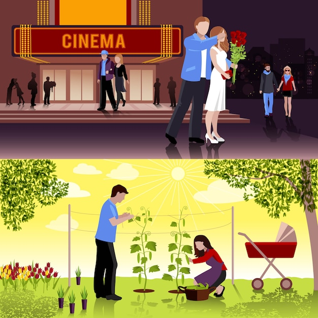 Couples people flat compositions Free Vector