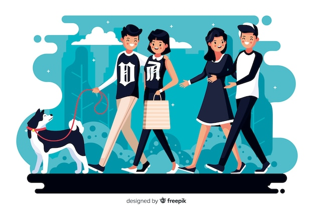 Couples walking together with dog Free Vector