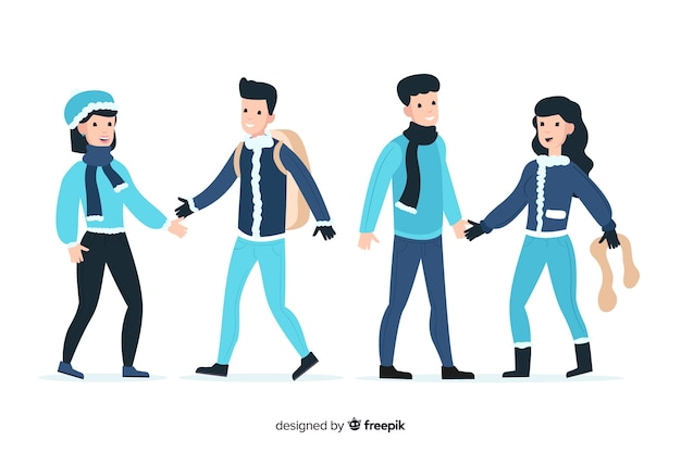 Couples wearing winter clothes Free Vector