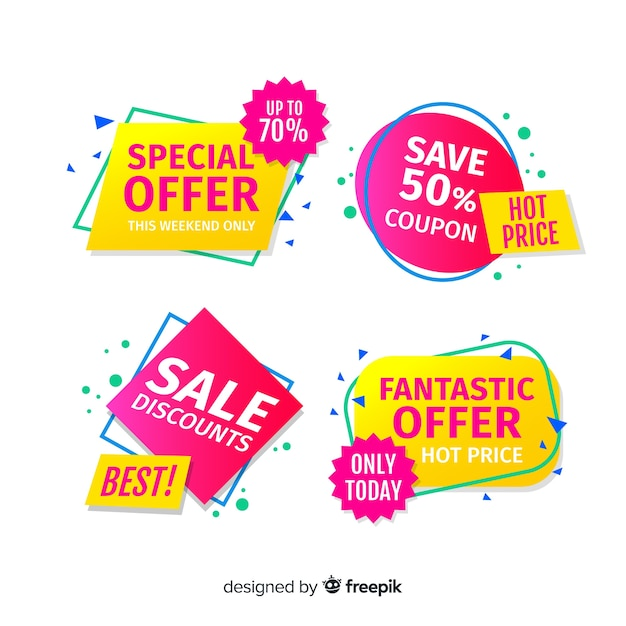 Coupon sale label collectio Free Vector