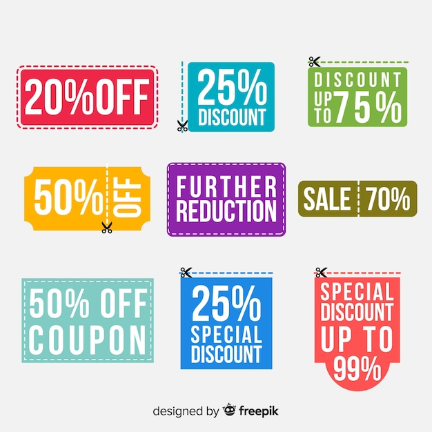 Coupon sale label set Free Vector