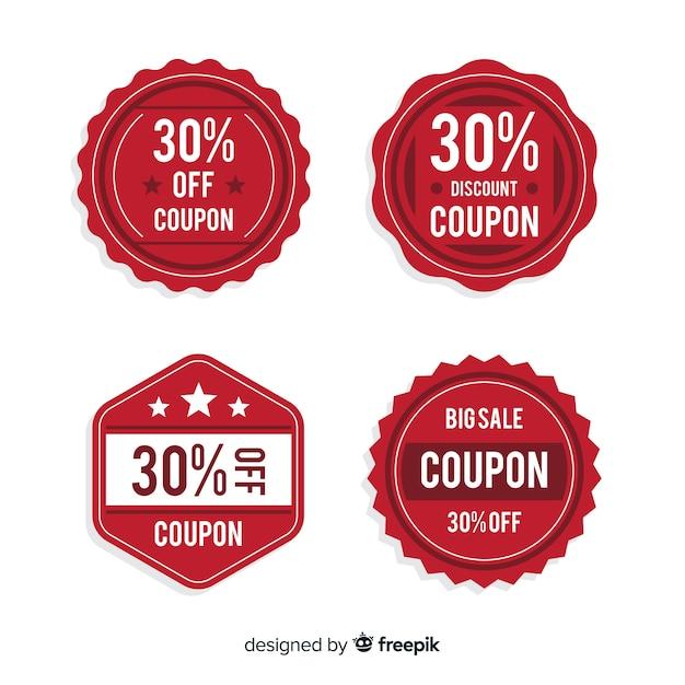 Coupon sale label set Free Vector