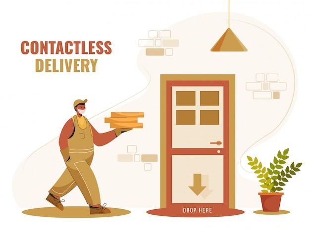 Пакеты courier boy с доставкой к двери для бесконтактной доставки. остановите коронавирус. Premium векторы