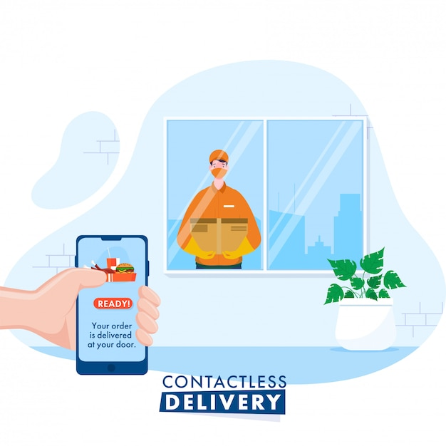 Courier boy informs you about order delivery from smartphone for contactless delivery during coronavirus pandemic. Premium Vector