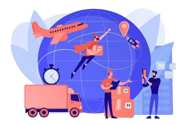 宅配便で注文を運び、小包を配達します。エクスプレス貨物配送サービス、航空貨物のロジスティクスと流通、グローバルな郵便のコンセプト。ピンクがかった珊瑚bluevector分離イラスト 無料ベクター
