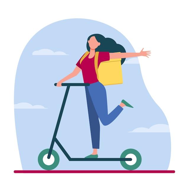 宅配便の配達注文。ボックスを持つ幸せな若い女性形スクーターフラットベクトル図に乗ってバックパック。食品配達、サービス、輸送 無料ベクター