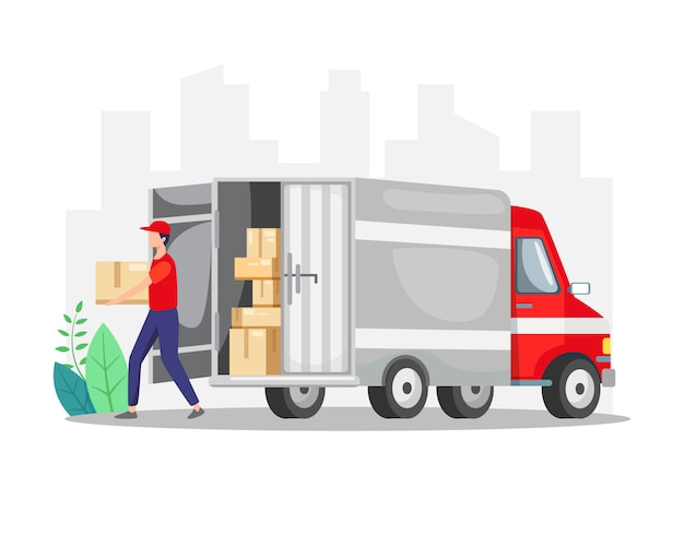Courier delivering a package with truck Premium Vector