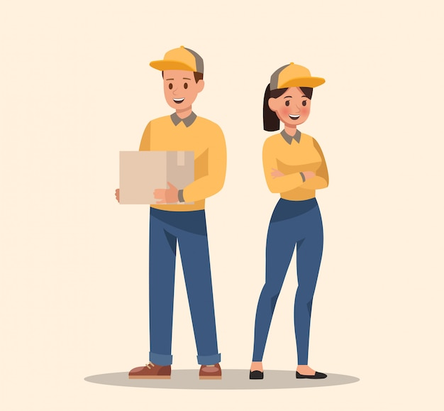 Courier and delivery characters design. professionals team. Premium Vector