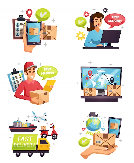 Courier delivery compositions elements set Free Vector