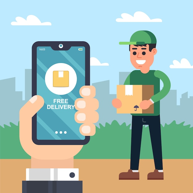 Courier delivery service. hand with the phone. Premium Vector