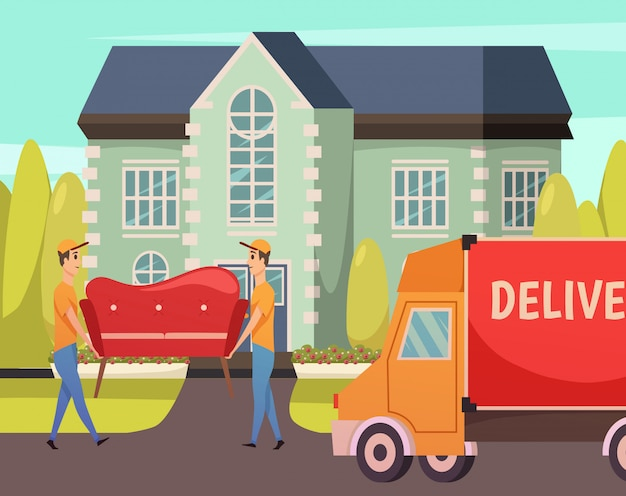 Courier delivery service orthogonal Free Vector