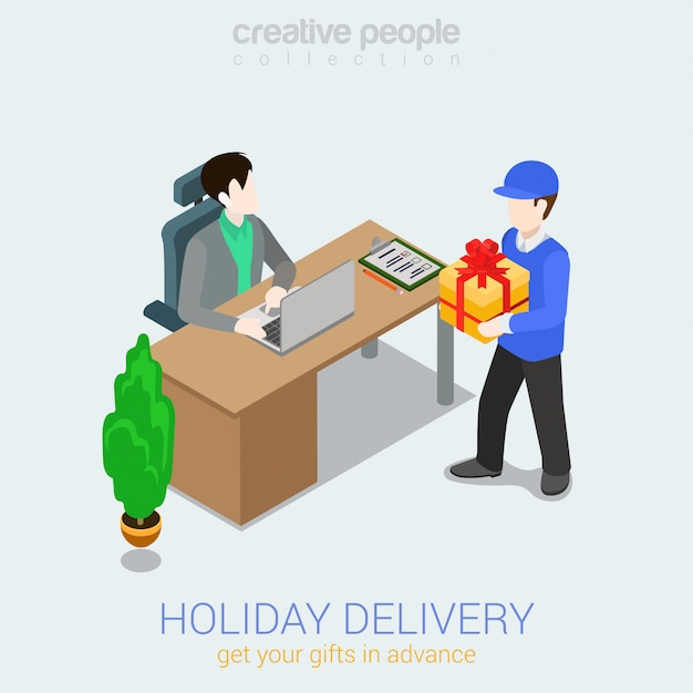 Free Vector Courier Holiday Gift Delivery Concept Man Giving Present Box To Man Isometric Illustration