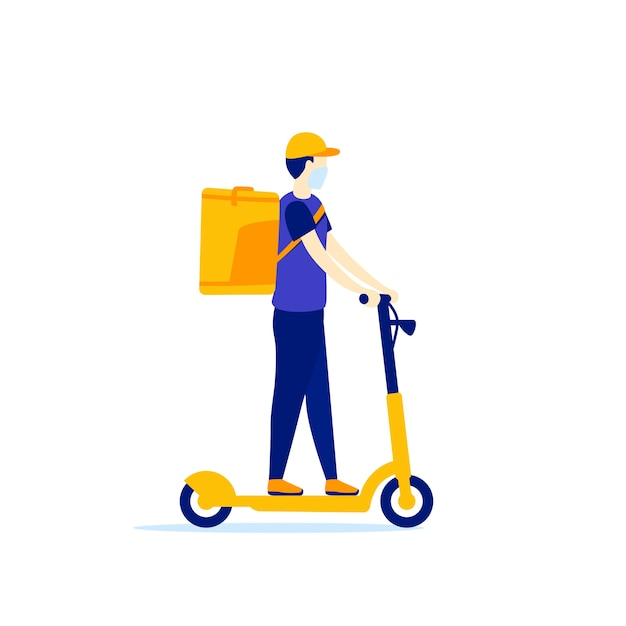 Courier on a kick scooter delivery worker Premium Vector