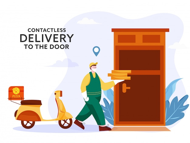 Courier man holding pizza parcels with scooter in front of door for contactless delivery to prevent from coronavirus. Premium Vector