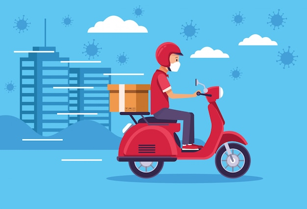 Courier in motorcycle delivery service Premium Vector