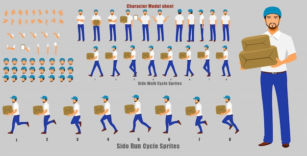 Courier person character model sheet with walk cycle and run cycle animation sequence Premium Vector