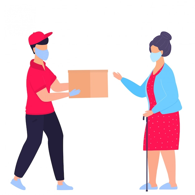 A courier in a protective medical mask brought the parcel to grandmother to the door. order food. safe delivery. help for the elderly. quarantine. self isolation. volunteer Premium Vector