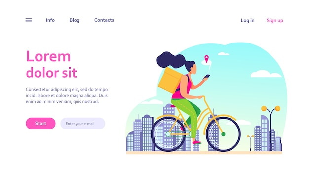 Courier riding bike and checking address on phone. woman delivering order, using cell with map web template. Free Vector