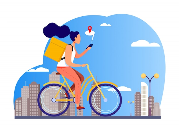Courier riding bike and checking address on phone Free Vector