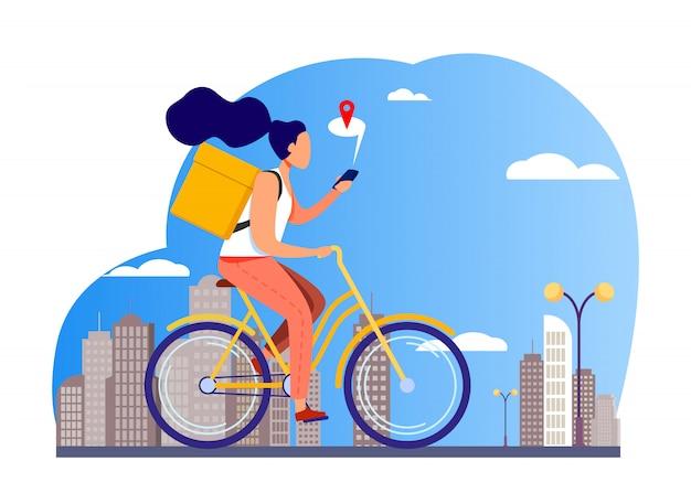 Corriere in sella a bici e controllo indirizzo sul telefono Vettore gratuito