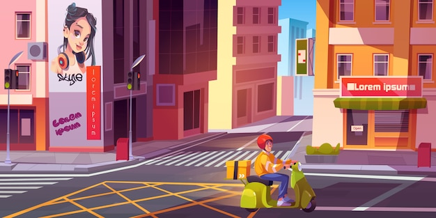 Courier riding bike on city street. young delivery man with parcel box delivering grocery or goods on empty urban cityscape with crossroad and traffic lights. cartoon vector illustration Free Vector